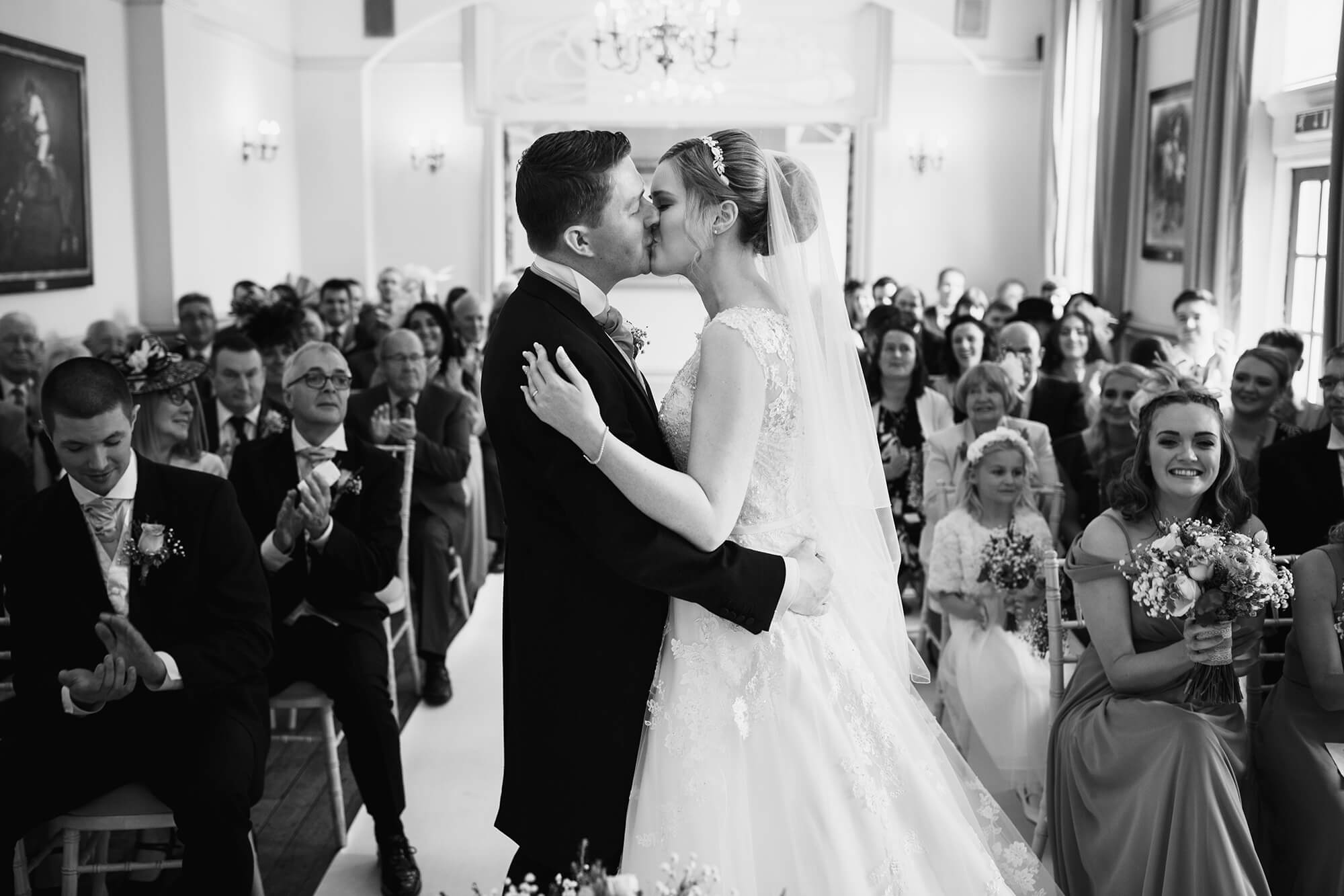 first kiss at nunsmere wedding ceremony