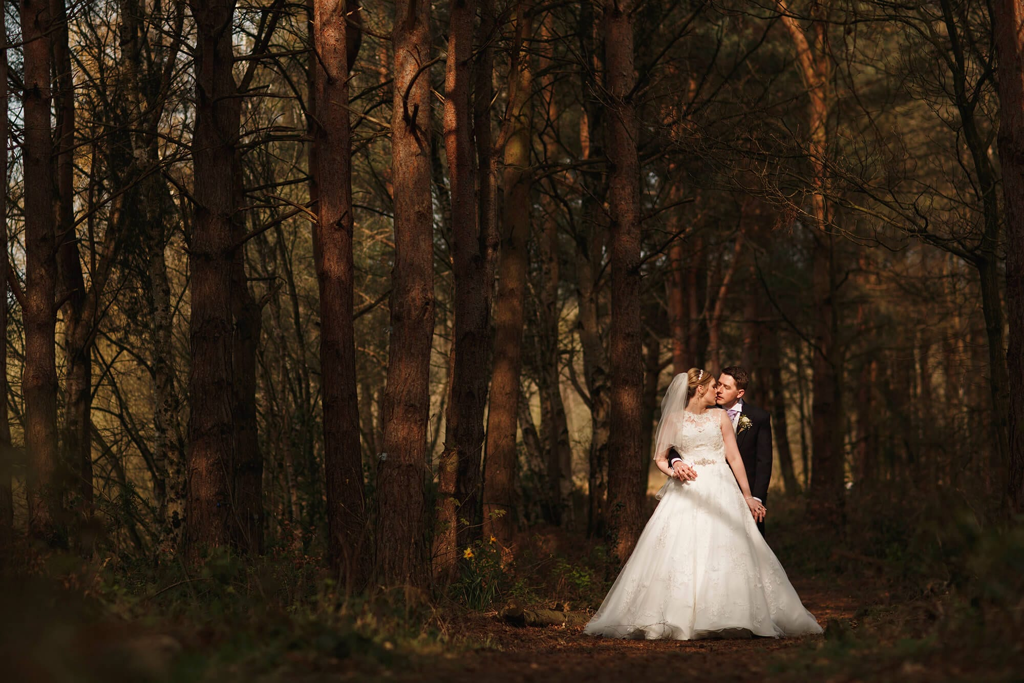 Bride And Groom Woodland Nunsmere Hall