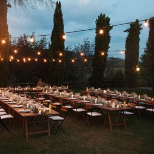 Tables Set At Tuscany Wedding