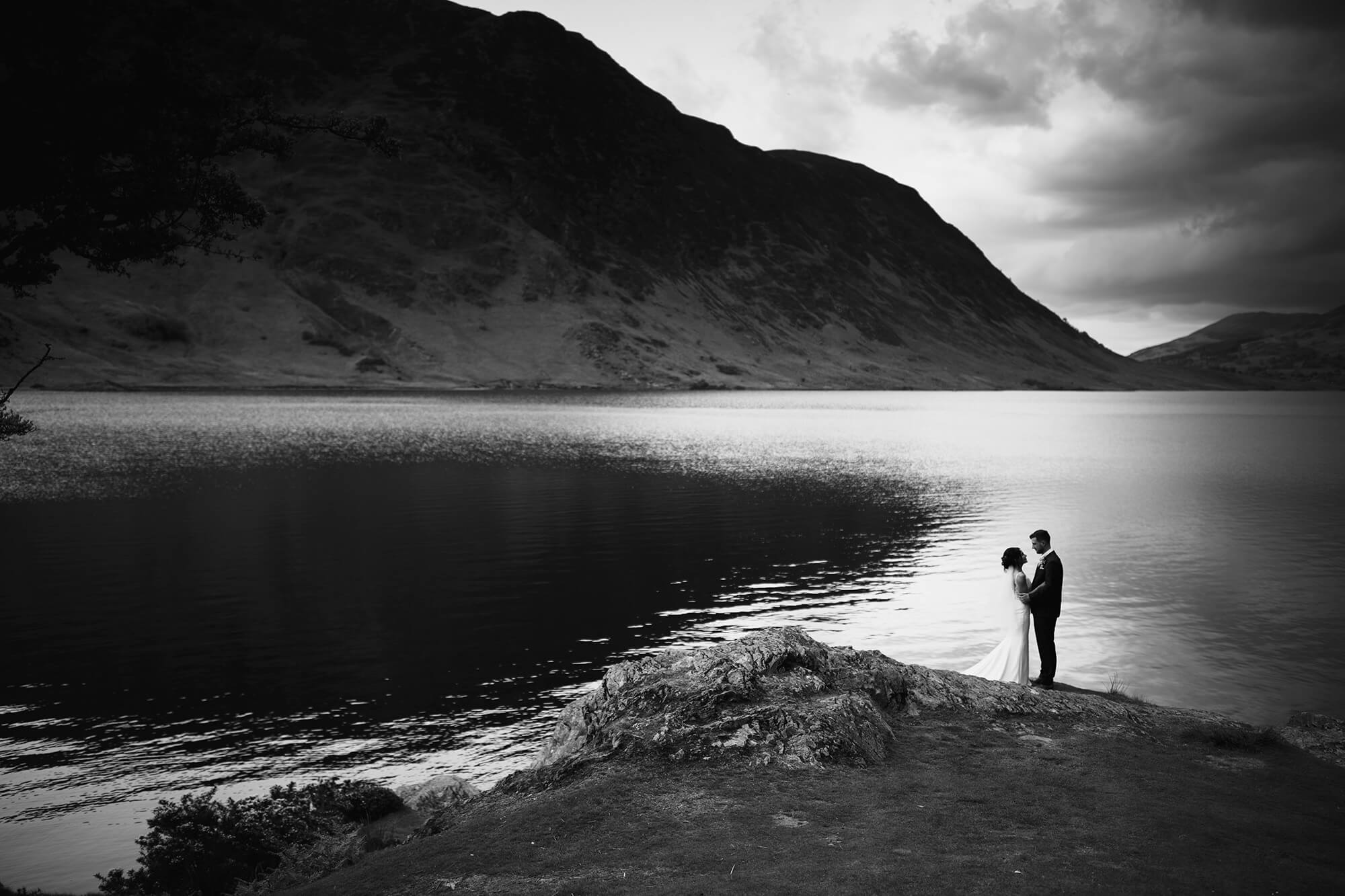 Bride and groom in a lake district wedding photo