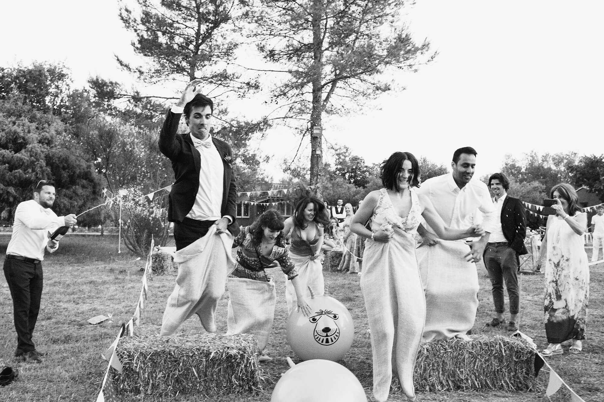 Party games at Domaine de Bruguieres wedding photography