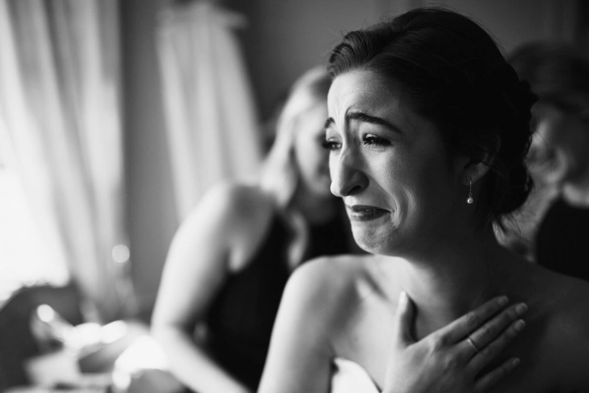 Brides happy tears getting ready Thornton wedding black and white effect
