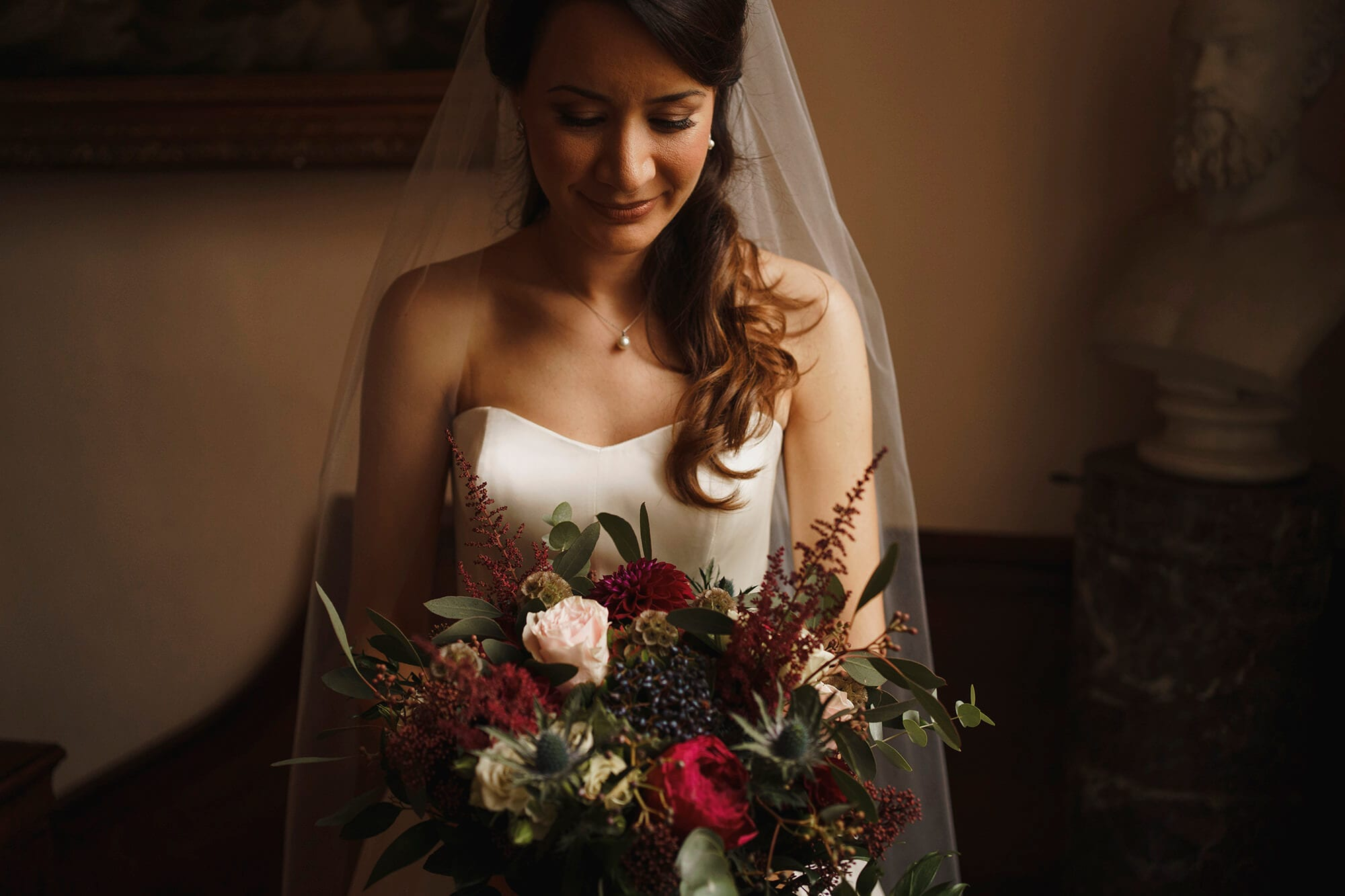 bride with her bouquet at iscoyd park