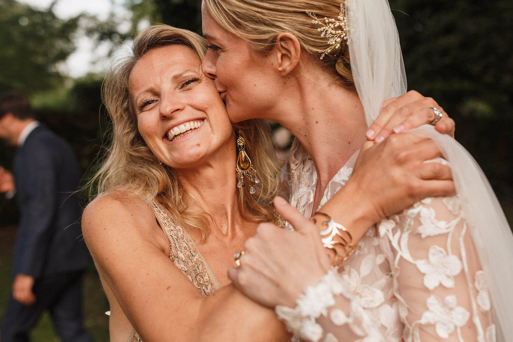 wedding photo of bride and friend