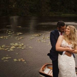 bride and groom wedding photo at gilpin lake house