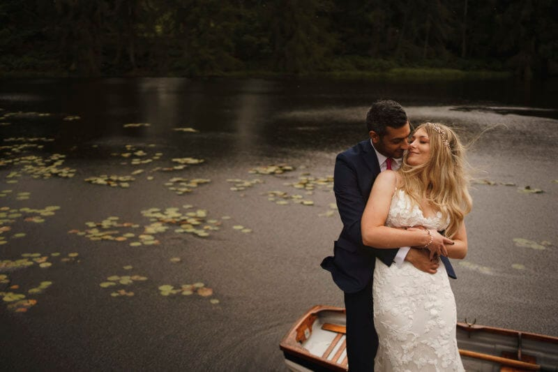 bride and groom wedding photo at gilpin lake house